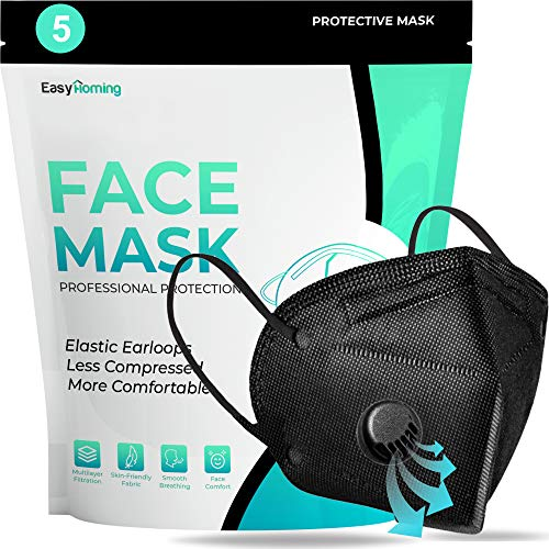 Face Mask For Sale With Valve - 5pcs Black Face Mask - Disposable Face Mouth Covers Anti Pollution 5 Layers Non-Woven Breathable Face Masks Respirator