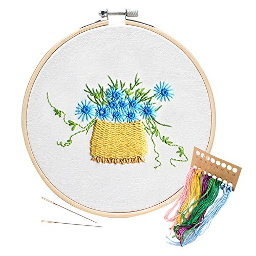 Unime Embroidery Starter Kit with Pattern Full Range Embroidery Kit with Embroidery Cloth, Embroidery Hoop, Color Threads, Needles (blue (Blue Embroidery Hoop)