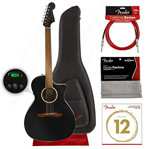 Fender Newporter Special California Series Acoustic Guitar, Matte Black w/Gig Bag and Bundle