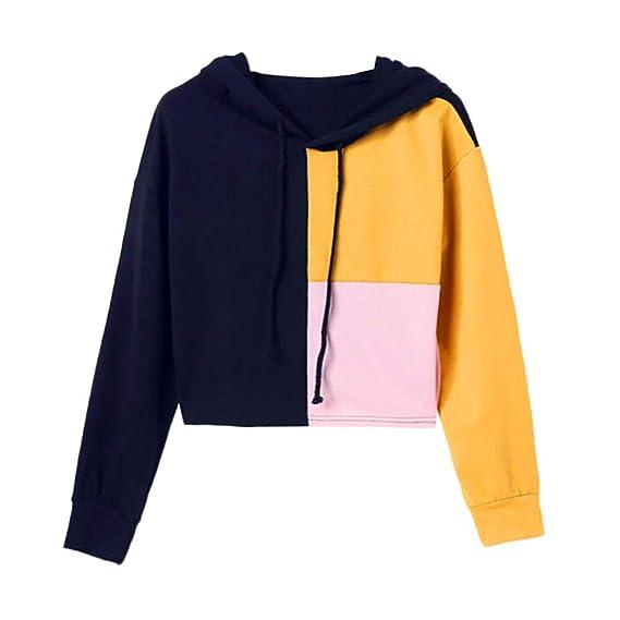 Luckycat Las Mujeres del otoño de Manga Larga Patchwork Bolsillo Sudadera Blusa Tops Camiseta, Grande