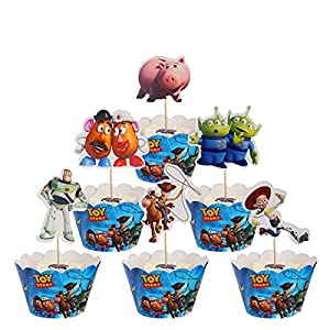 48 pcs Cake Toppers for Kids Birthday Party Cake Decoration Supplies (Toy Story 48 pcs)