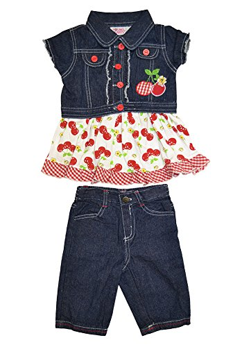 Alfa Global Little Girls' Dress, Short Denim Jacket, and Pants 3 pcs. Set Size 6T by Alfa Global (Image #1)