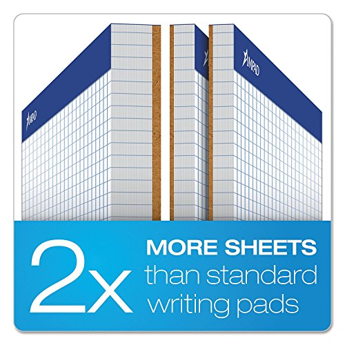Ampad 20210 Quadrille Double Sheets Pad, 8 1/2 x 11 3/4, White, 100 (Ampad Microperforated Writing Pad)
