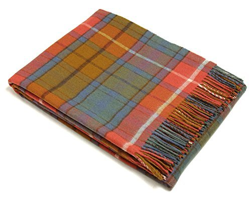 Bronte Throw Blanket - Tartan Throw - Merino Lambswool (Antique Buchanan) - Scottish Lambswool
