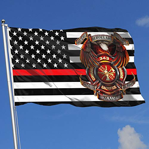 QphonesFlag Thin Red Line 343 Firefighters Memorials 9-11 Never Forget Flag 3x5-Flags 90x150CM-Banner 3'x5' FT (Memorial 11 9)