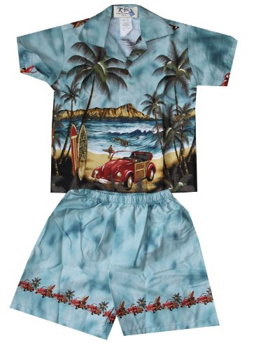 Boy's Diamond Head Woody Hawaiian Cabana Shirt Set