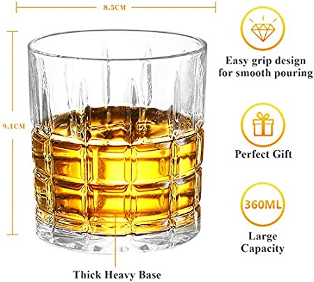 Homii Vasos de Whisky, Juego de Vasos, Vasos de Agua, Vaso de Vidrio Transparente sin Plomo, Accesorios de Vino para Whisky, Cócteles, Jugo, Juego de 2 Vasos, 300ml/10.5 oz