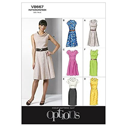 Vogue Patterns V8667 - Patrones de costura para vestidos de mujer (talla BB: 38