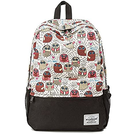 04b28f2a3 Image Unavailable. Image not available for. Color: Owl Printed Women Canvas  Laptop Backpack Cute School College Shoulder Bag for Teenage Girls