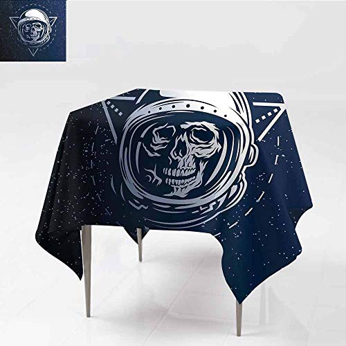 Diycon Waterproof Tablecloth Outer Space Dead Skull Head Icon Cosmonaut Costume Astronomy Terrestrial Horror Scare Image Grey Blue Indoor Outdoor Camping Picnic W70 -