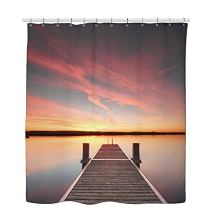 GDaniel Wooden Bridge Shower Curtain Sunset Bright Perspective View Of A