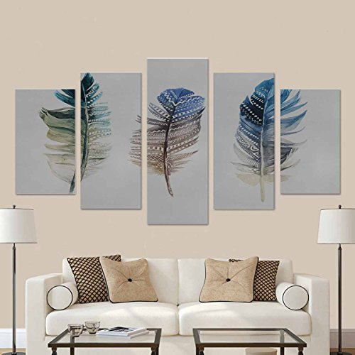 InterestPrint Watercolor Feathers on White Background Art Printing (No Frame) 5 Pieces Canvas Wall Art Print 40 Inch Total ()