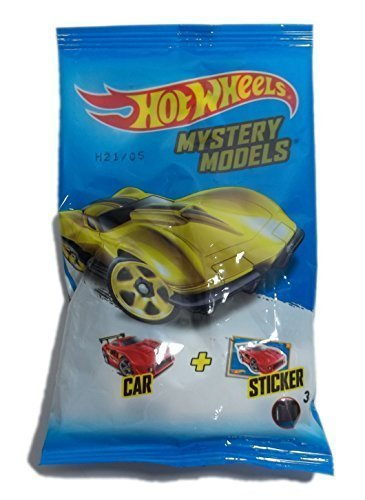 Hot Wheels Mystery Model Pack Includes 1 Car and 1 Sticker (Cars Hot Stickers Wheels)