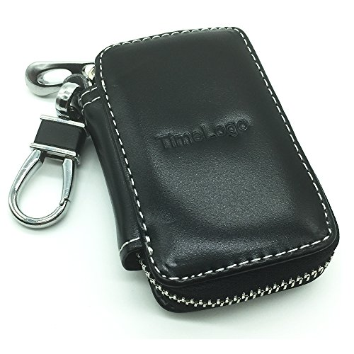 Car Key Chain Holder TimeLogo Black Premium Leather Coin Zipper Case Remote Wallet Bag Cover - Uk Online Tiffany