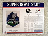 Super Bowl XLIII (2009) - Official NFL Super Bowl Patch with complete Statistics Card - Pittsburgh Steelers vs Arizona Cardinals - Santonio Holmes MVP