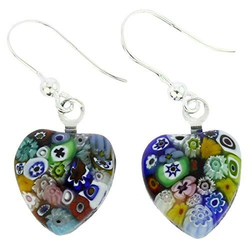 GlassOfVenice Murano Glass Millefiori Heart Earrings - Silver Multicolor ()
