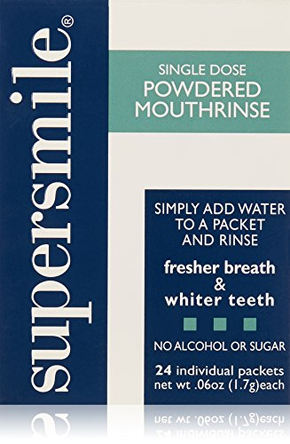 Supersmile Powdered Mouth Rinse - Clinically Proven to Freshen Breath and Whiten Teeth - Convenient TSA Approved On-the-Go Oral Mouthwash Packets - No Sugar or Alcohol (24 Count, 0.06 Oz. Each)