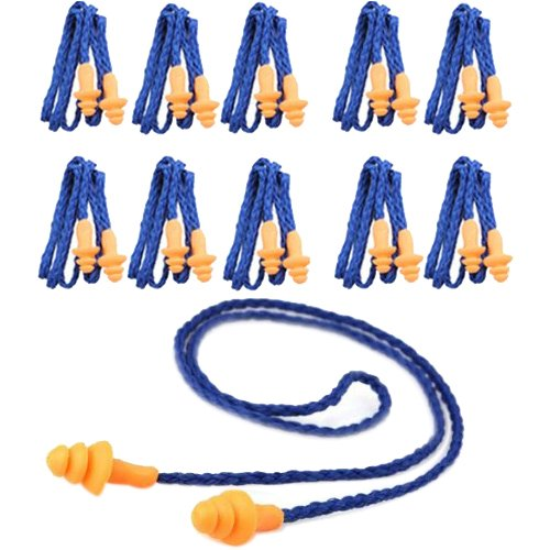 Ear Plugs - TOOGOO(R)10 Pcs Safety Silicone Soft Ear Plugs - Hearing Protection Muffs With Cord - Noise Reduction for Work Home Sleeping Blue Orange