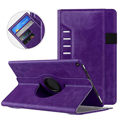 MoKo Case for All-New Amazon Fire HD 10 Tablet (7th Generation/9th Generation, 2017/2019 Release) - 360 Degree Rotating Swivel Stand Cover with Auto Wake/Sleep for Fire, Purple