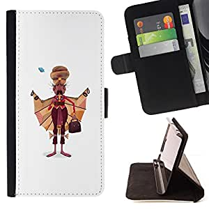 BullDog Case - FOR/Samsung Galaxy Note 4 IV / - / SIKH MAN ART DRAWING INDIA SIKHISM ATTIRE /- Monedero de cuero de la PU Llevar cubierta de la caja con el ID Credit Card Slots Flip funda de cuer