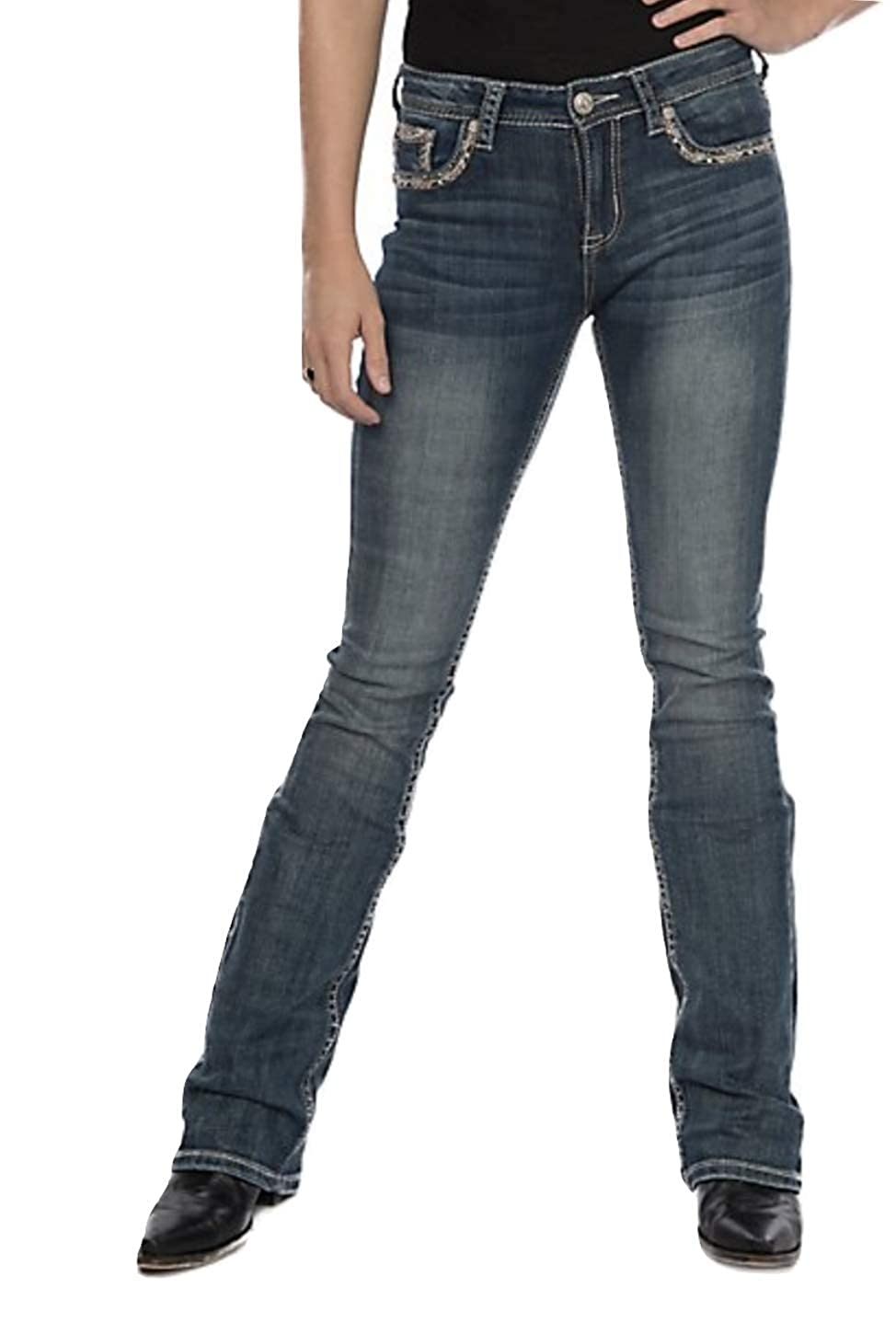 Grace in LA Mid Rise Easy Boot Rhinestone Gold Tone Feather Embellished Pocket Bootcut Stretch Jeans