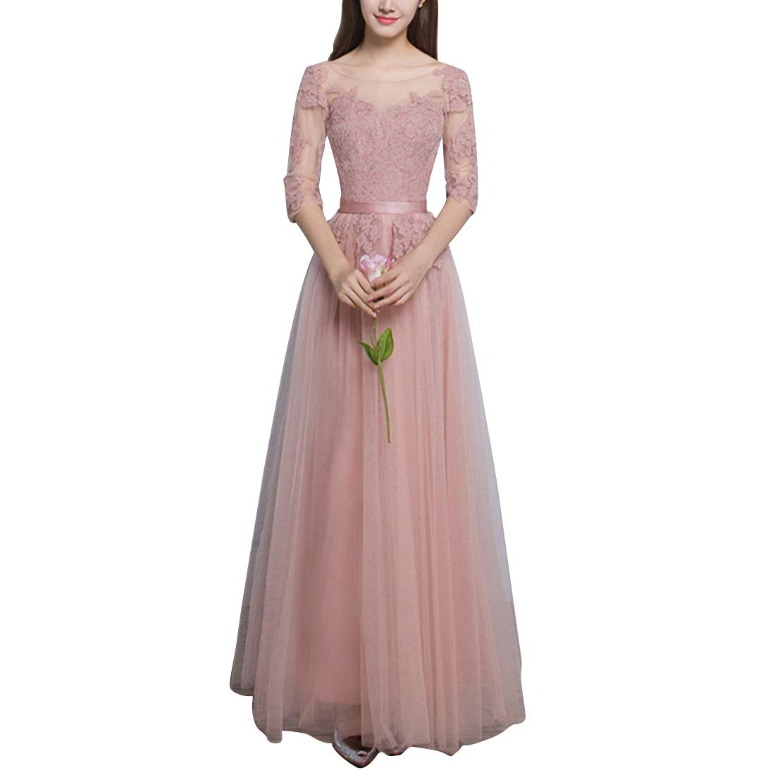 Women's Embroidery Long Evening Dress Bridesmaid Dress (Size   M)