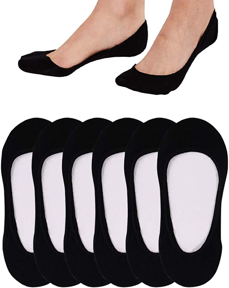 4 to 8 Pack Ultra Low Cut No Show Socks Women Invisible for Flats and Dress Shoes Liner Socks with Non-Slip Heel Grips