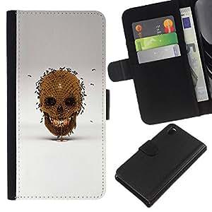 iBinBang / Flip Funda de Cuero Case Cover - Honey Bee Oro cráneo Bronce Gris - Sony Xperia Z3 D6603