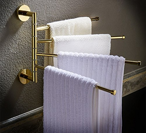 HOMEE Full Copper Folding Rotary Towel Bar Toilet Bathroom Hanging Rack by HOMEE