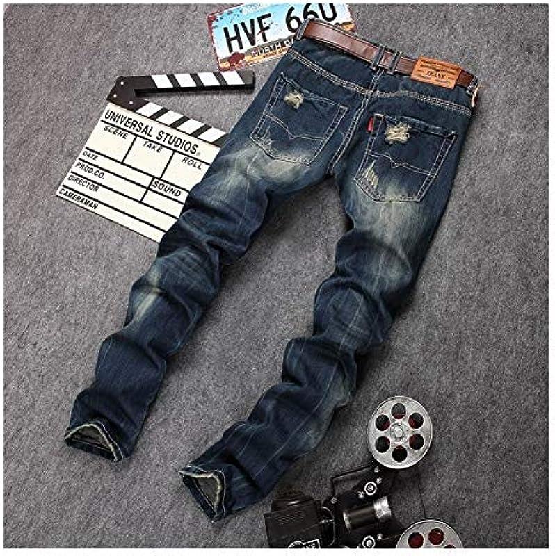 Frieed męskie dżinsy dziurkowane, proste cienkie dżinsy męskie osobowość, stare oryginalne spodnie do robienia z miękkim dotykiem, jak na zdjęciu, 30: Küche & Haushalt