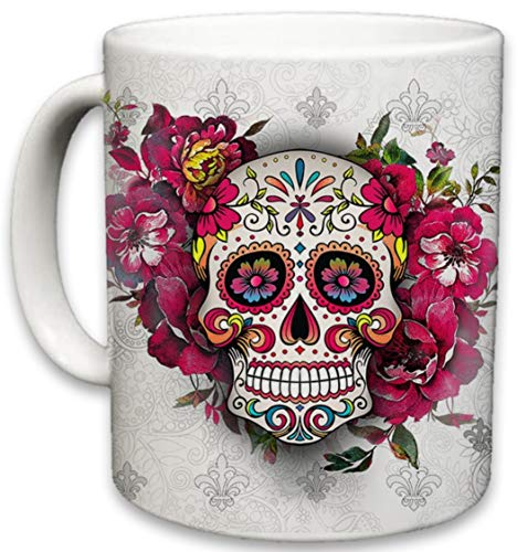 Sweet Gisele | Sugar Skull Ceramic Mug | Floral Print Coffee Cup | Day of the Dead Design | Beautiful Vivid Colors | Great Novelty Gift | White | 11 Fl. Oz (White)