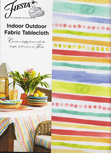 Fiesta Garden Stripe Umbrella Tablecloth Outdoor Fabric (70 Round (Dot Patio Furniture)