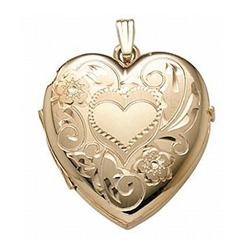 14K Gold Filled 4-Page Photo Heart Locket - 1-1/4 Inch X 1-1/4 Inch by PicturesOnGold.com