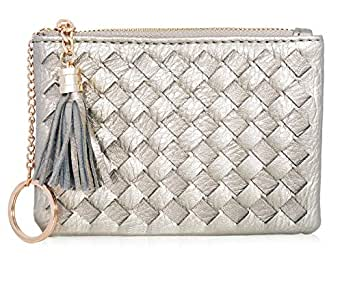 Coin Purse for Women Card Cash with Key Ring & Leather Tassels