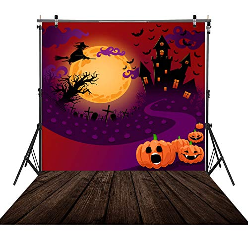 5x7ft Durable/Soft Fabric Halloween Decorations Decor Backdrop for Photography Pumpkin Castle Witch and Bat Horrible Party for Kids Photo Background Photo Studio Booth Props]()