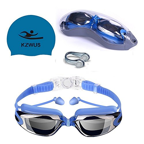 - 4 in 1 Swim Goggles + Reversible Swimming Cap + Protective Case + Nose Clip, Anti-Fog UV Protection Coated Lens No Leaking Swimming Goggles with Ear Plugs for Adult Men Women Youth Kids Child (Blue)