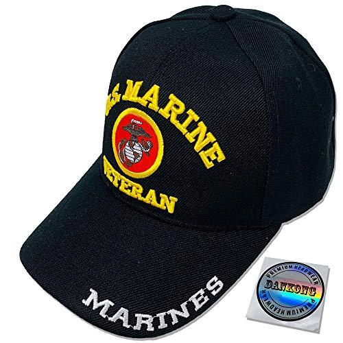 DANKONG U.S. Marine Hat -Official Licensed US Military 3D Embroidered Baseball Cap with Size Adjustable Hoop and Loop Closure for Men and Women - U.S. Marine - Veteran - Black