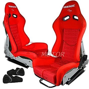X2 Bride Gias V2 Racing Seat Black Gradation Low Max Bucket W Sliders Red