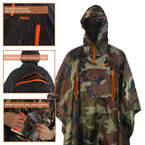 Hunting Rain Poncho with Breathable Zippers. Ripstop and Adult Size. Multi-Functional, Waterproof, Compact and…