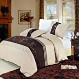 Luxurious 8 Piece King Size Celeste Embroidered BED IN A BAG Set. IncludesDuvet CoverSet + 100% Egyptian Cotton Bed Sheet Set + DownAlternativeComforter