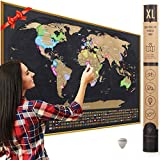 XL Scratch Off Map of The World with Flags - Made in Europe 36 x 24' Large Scratch Off World Map Poster with US States & Flags - Deluxe Travel World Map Scratch Off, Travel Decor, Gift for Travelers