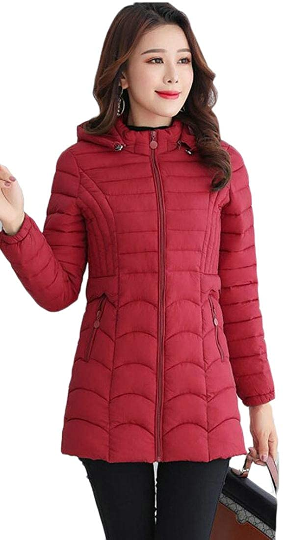 Red Emastor Women's Winter Padded Zip Down Jacket Warm Thick Quilted Coat