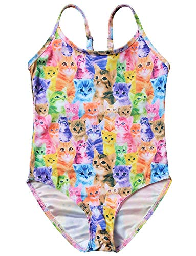 Girls Cat Bathing Suits Colorful Swimsuits Kids Beach Swim Clothes Size 8 -