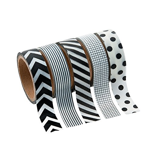Price comparison product image Black & White Patterned Washi Tape Set (5 Rolls Per Unit) Each Roll Includes 16 Ft. Of Tape.