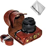 First2savvv full body Precise Fit PU leather digital camera case bag cover with should strap for Canon EOS M100 M10 wish 15-45mm Lens + Cleaning cloth XJD-EOS M100-10