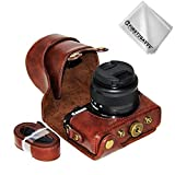 First2savvv full body Precise Fit PU leather digital camera case bag cover with should strap for Canon EOS M100 wish 15-45mm Lens + Cleaning cloth XJD-EOS M100-10