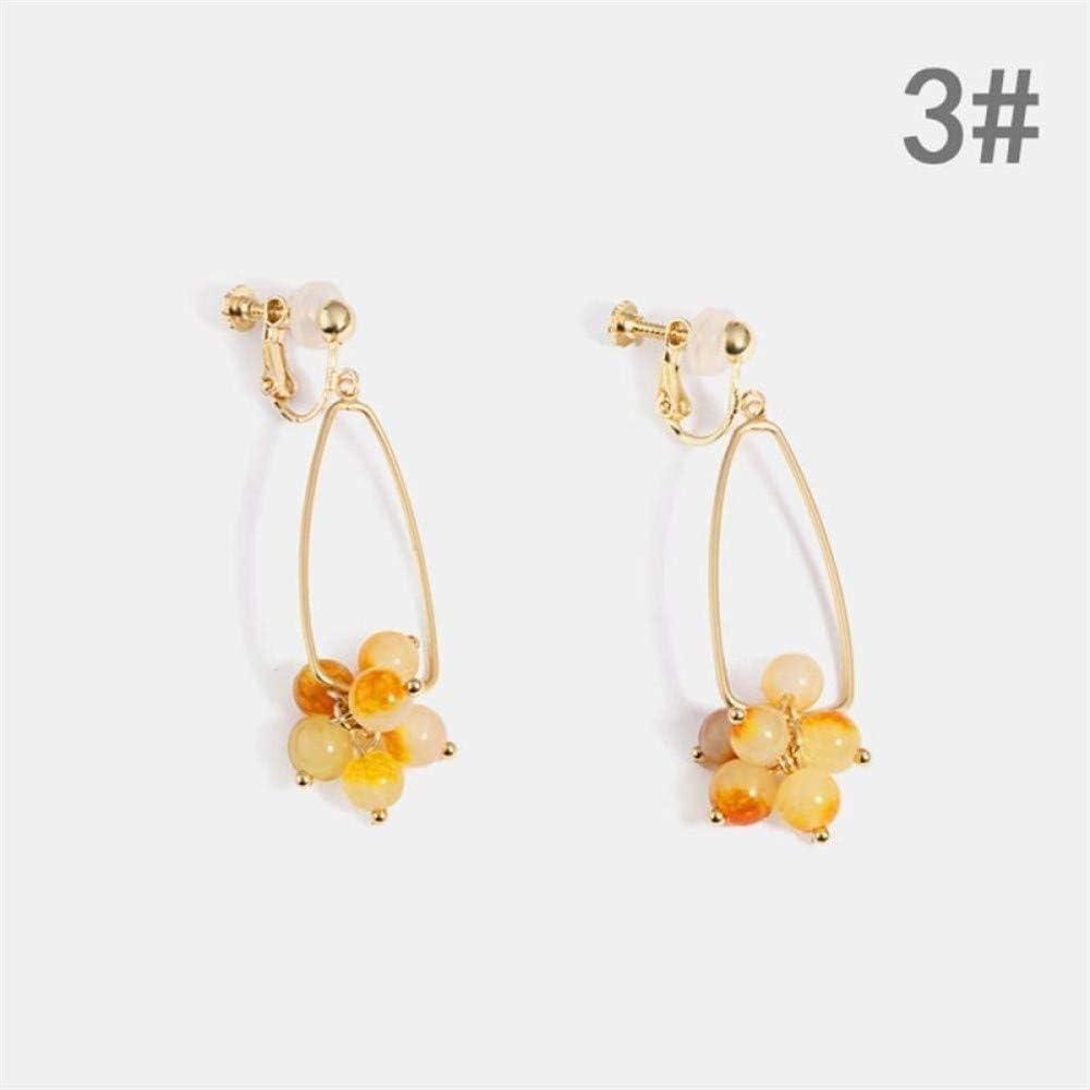 WSNM Estilo Largo Ear Drops Delicada joyería de Plata 925 Geometría Piedras Preciosas Pendientes de la Perla de Cristal for Las Mujeres de la calcedonia ágata (Color : 3)