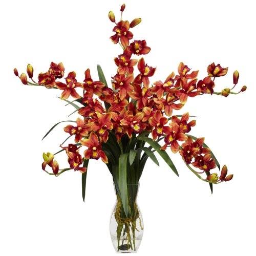 Nearly Natural 1184-BG Cymbidium Orchid Silk Flower Arrangement, Burgundy (Cymbidium Orchid Silk Flower)
