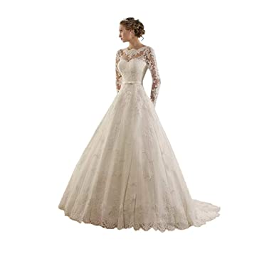 DingDingMail Women s Jewel Lace Applique Long Sleeve Chapel Wedding Dress  at Amazon Women s Clothing store  f91d800750