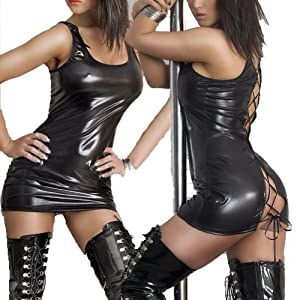 QinYing Wet Look PVC Leather Black Lace up Fancy Mini Dress